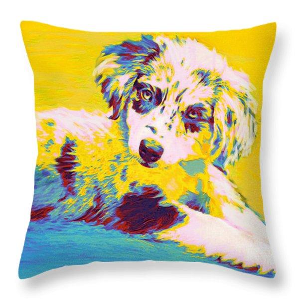 aussie puppy-yellow Throw Pillow by Jane Schnetlage