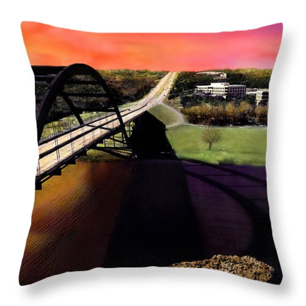 Austin 360 Bridge Throw Pillow by Marilyn Hunt