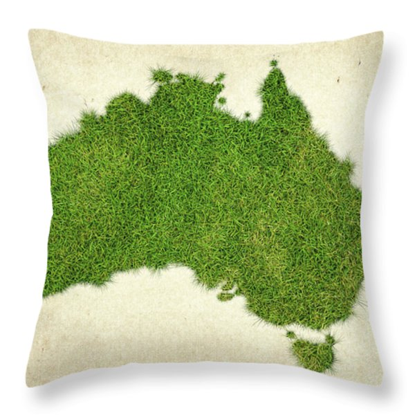 Australia Grass Map Throw Pillow by Aged Pixel