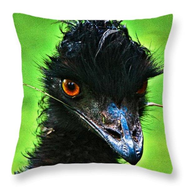 Australian Emu Throw Pillow by Blair Stuart