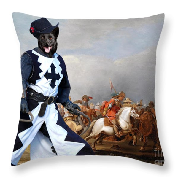Australian Kelpie Canvas Print - A cavalry engagement during the Thirty Years War Throw Pillow by Sandra Sij