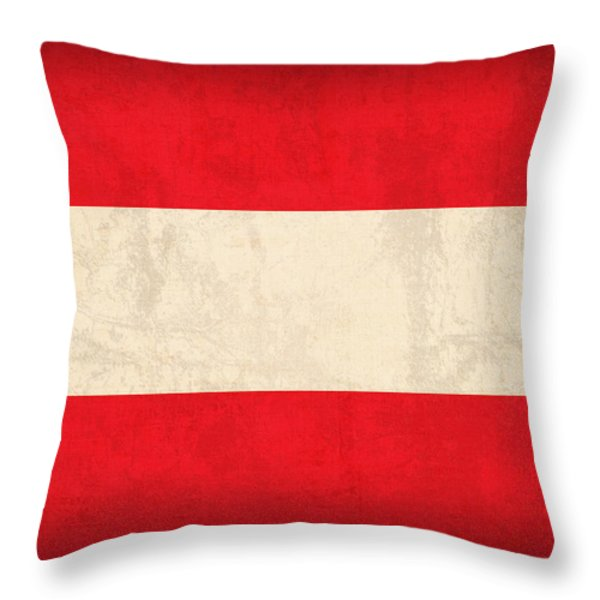 Austria Flag Vintage Distressed Finish Throw Pillow by Design Turnpike