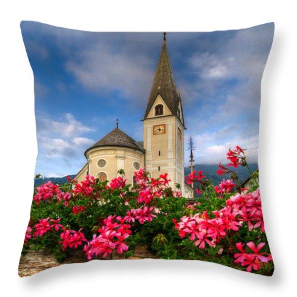 Austrian Church Throw Pillow by Debra and Dave Vanderlaan