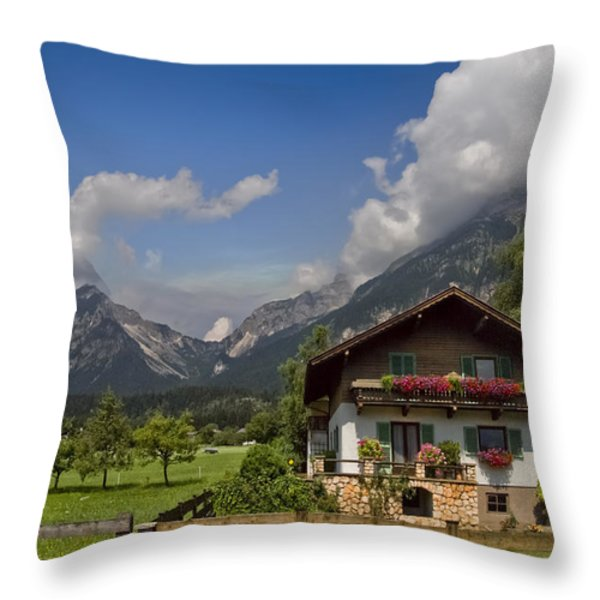 Austrian Cottage Throw Pillow by Debra and Dave Vanderlaan