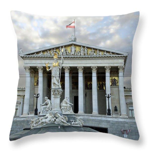 Austrian Parliament Building In Vienna Throw Pillow by Mountain Dreams