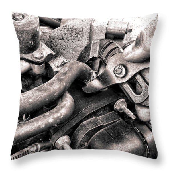 Auto Repair Throw Pillow by Olivier Le Queinec