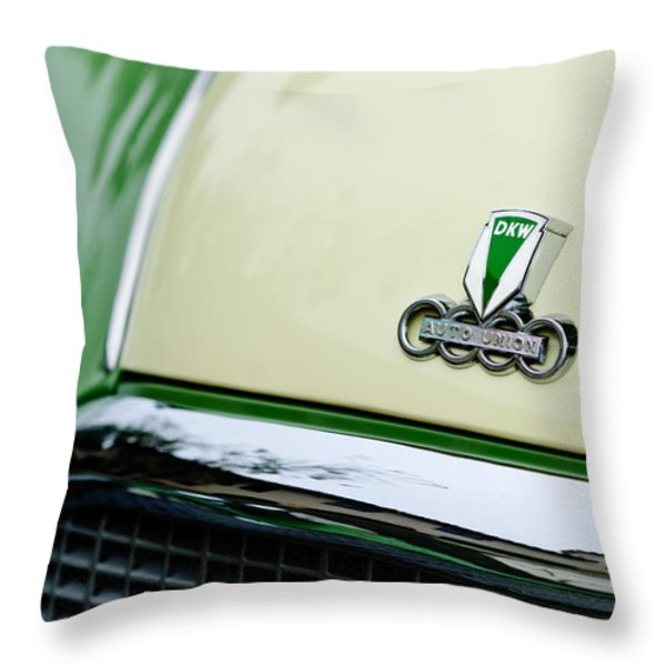 Auto Union DKW Hood Emblem Throw Pillow by Jill Reger