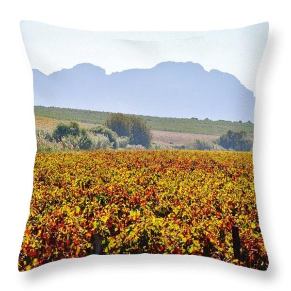 Autum Wine Field Throw Pillow by Werner Lehmann