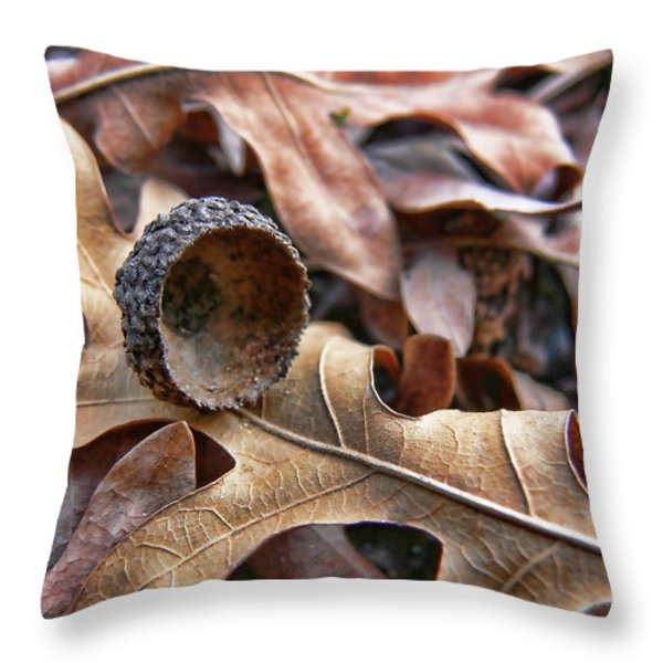 Autumn Acorn And Oak Leaves Throw Pillow by Jennie Marie Schell