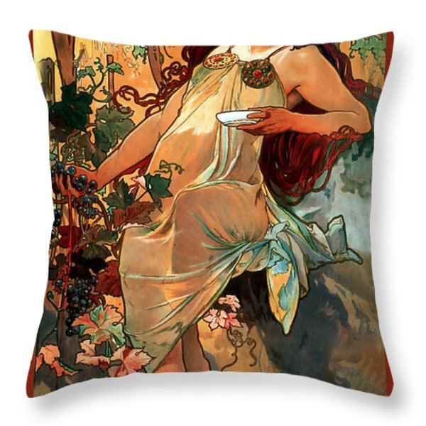 Autumn Throw Pillow by Alphonse Maria Mucha