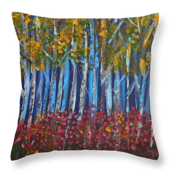 Autumn Aspens Throw Pillow by Donna Blackhall