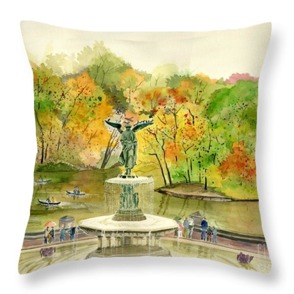 Autumn At Central Park Ny Throw Pillow by Melly Terpening