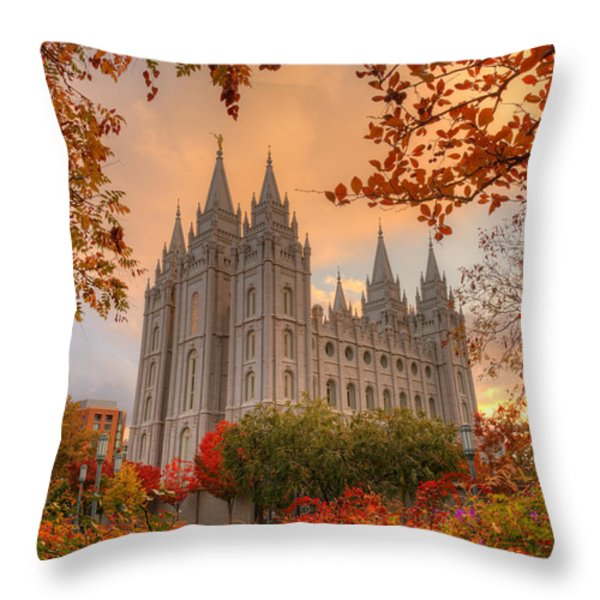 Autumn At Temple Square Throw Pillow by Dustin  LeFevre