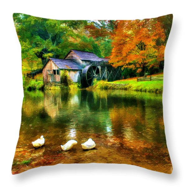 Autumn at the Mill Throw Pillow by Darren Fisher