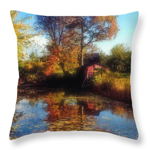 Autumn Barn Throw Pillow by Joann Vitali