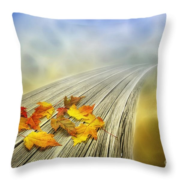 Autumn bridge Throw Pillow by Veikko Suikkanen