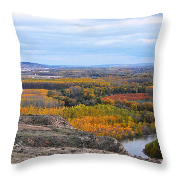 Autumn colors on the Ebro river Throw Pillow by RicardMN Photography