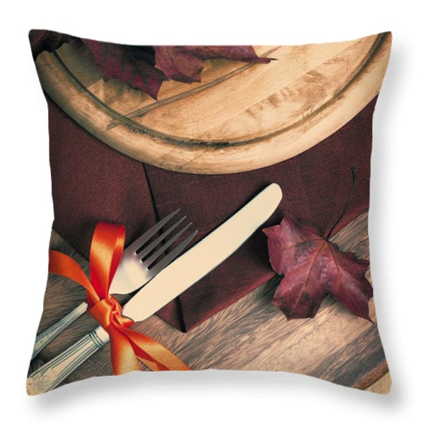 Autumn Dining Throw Pillow by Amanda And Christopher Elwell
