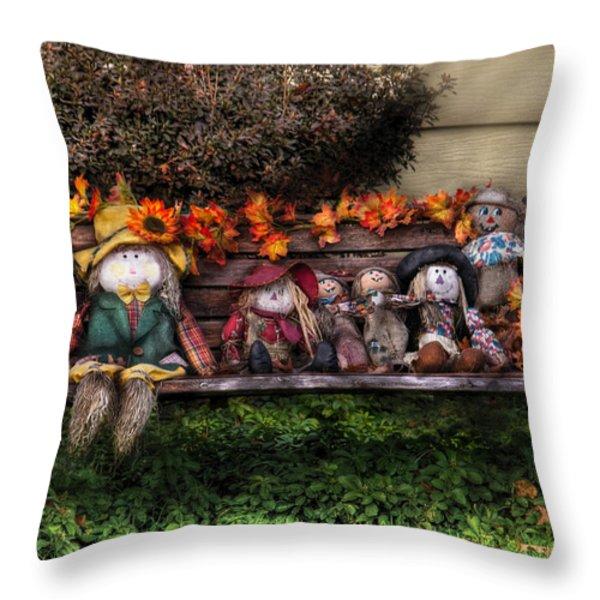 Autumn - Family Reunion Throw Pillow by Mike Savad