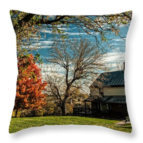 Autumn Farm House Throw Pillow by Lara Ellis