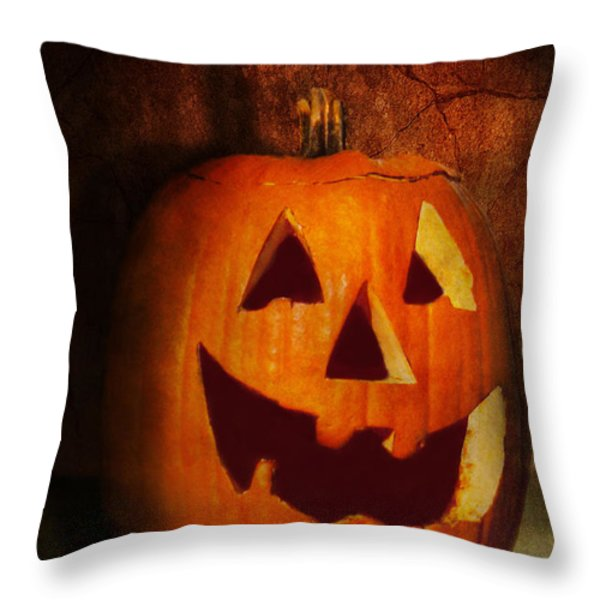 Autumn - Halloween - Jack-o-Lantern  Throw Pillow by Mike Savad