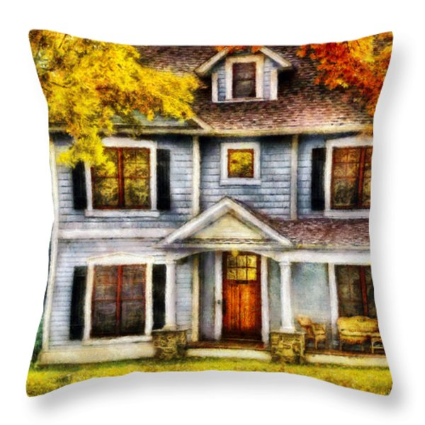 Autumn - House - Cottage  Throw Pillow by Mike Savad