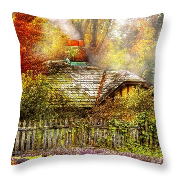 Autumn - House - On the way to grandma's House Throw Pillow by Mike Savad