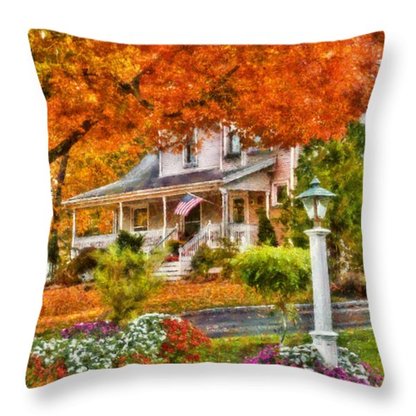 Autumn - House - The Beauty of Autumn Throw Pillow by Mike Savad