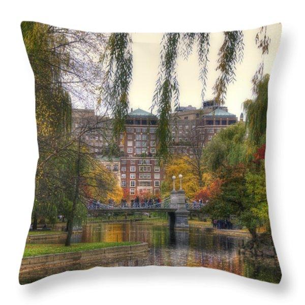 Autumn in Boston Garden Throw Pillow by Joann Vitali