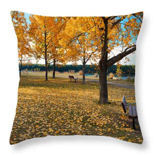 Autumn In Calgary Throw Pillow by Trever Miller