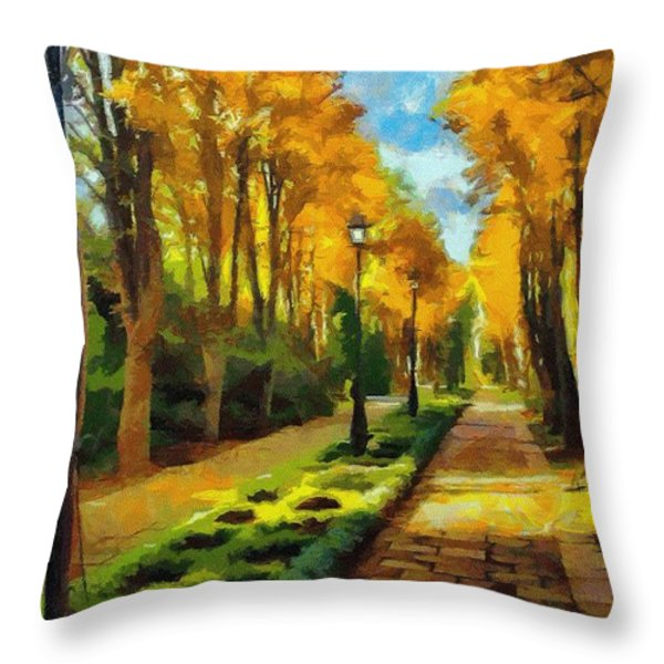 Autumn In Public Gardens Throw Pillow by Jeff Kolker
