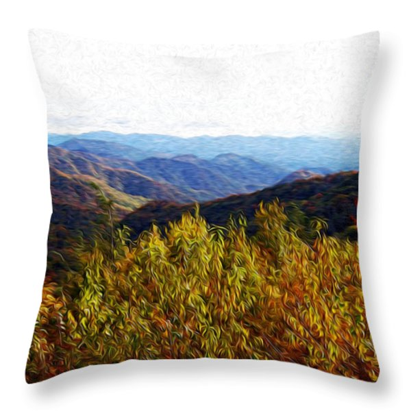 Autumn In The Smokey Mountains Throw Pillow by Phil Perkins