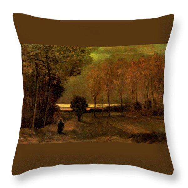 Autumn Landscape At Dusk 1885 Throw Pillow by Vincent Van Gogh