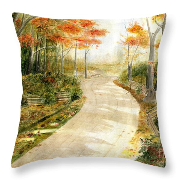 Autumn Lane Throw Pillow by Melly Terpening