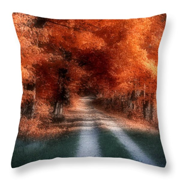 Autumn Lane Throw Pillow by Tom Mc Nemar