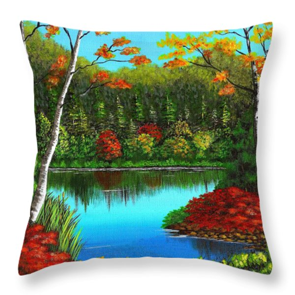 Autumn On The Water Throw Pillow by Cyndi Kingsley
