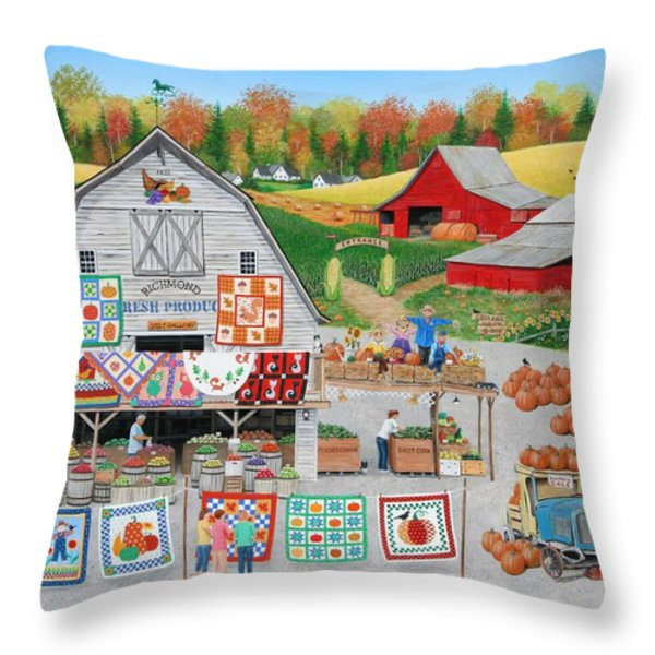 Autumn Quilts Throw Pillow by Wilfrido Limvalencia