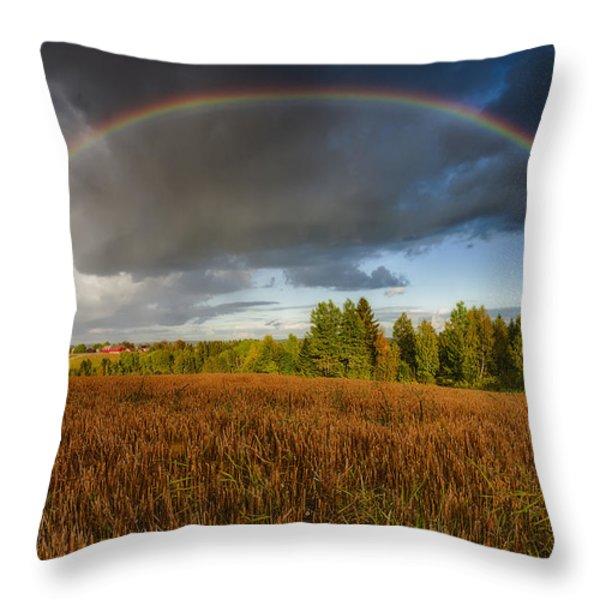 Autumn Rainbow Throw Pillow by Erik Brede