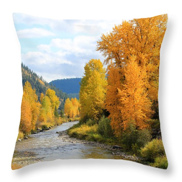 Autumn River Throw Pillow by Athena Mckinzie