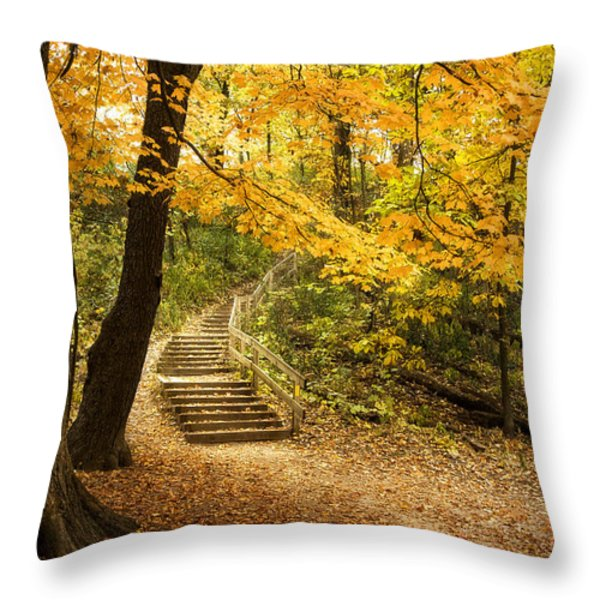 Autumn Stairs Throw Pillow by Scott Norris