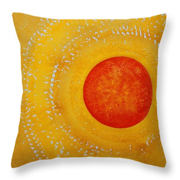 Autumn Sun Original Painting Throw Pillow by Sol Luckman