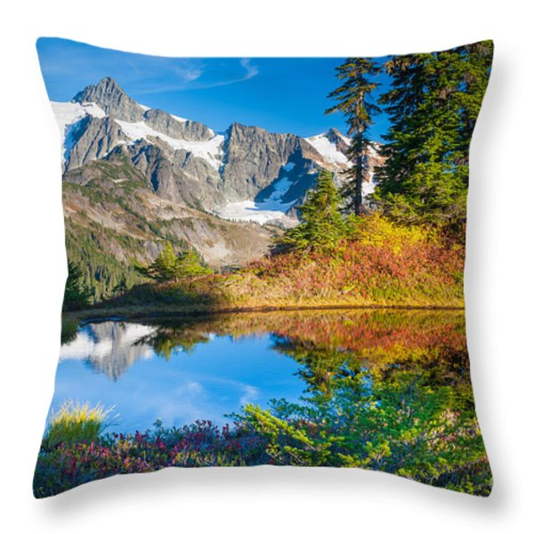 Autumn Tarn Throw Pillow by Inge Johnsson