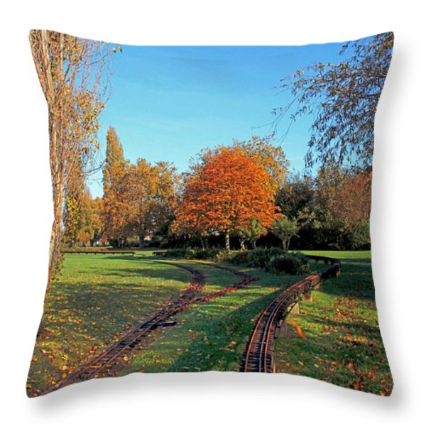 Autumn Tracks Throw Pillow by Terri Waters