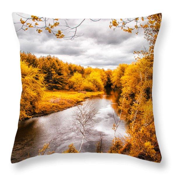 Autumn White Mountains Maine Throw Pillow by Bob Orsillo