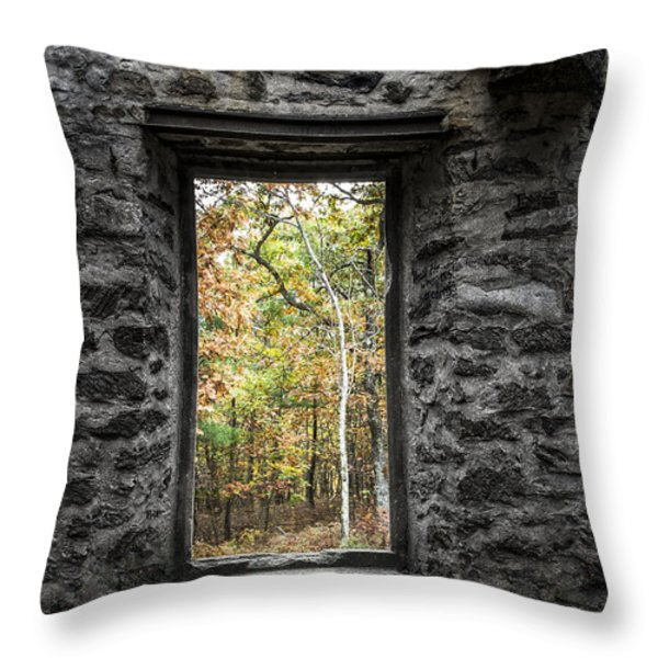 Autumn Within Cunningham Tower - Historical Ruins Throw Pillow by Gary Heller