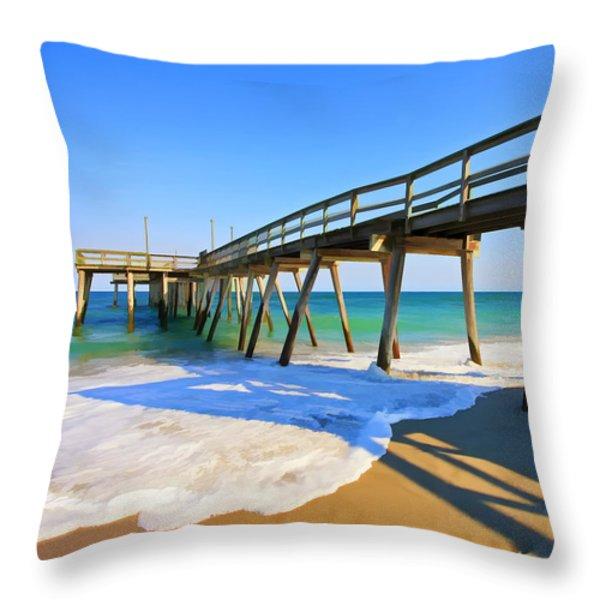 Avalon Pier Throw Pillow by Geoff Crego