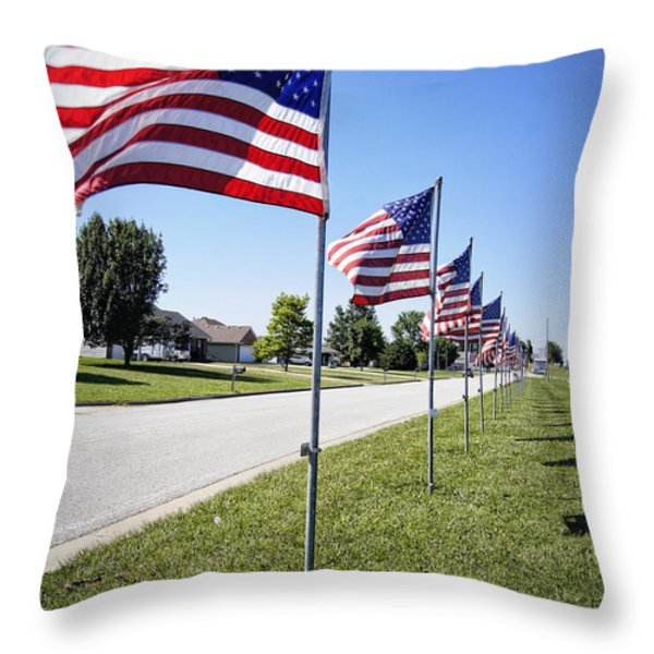 Avenue of the Flags Throw Pillow by Cricket Hackmann