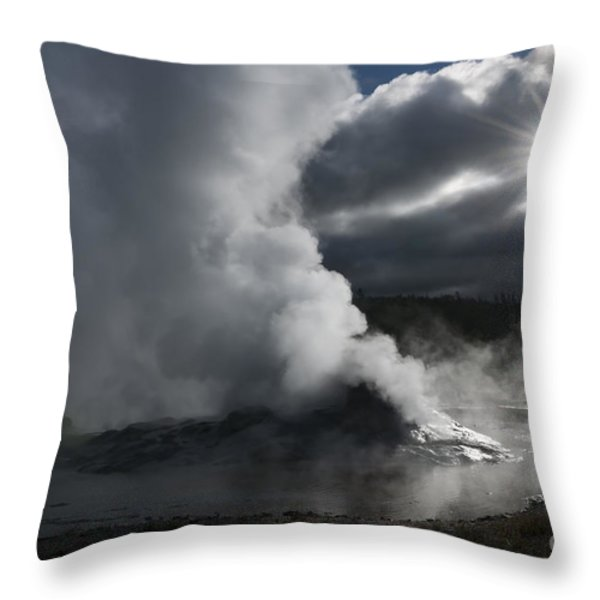 Awakening In Yellowstone Throw Pillow by Sandra Bronstein