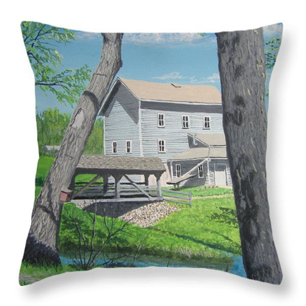 Award-winning Painting Of Beckman's Mill Throw Pillow by Norm Starks