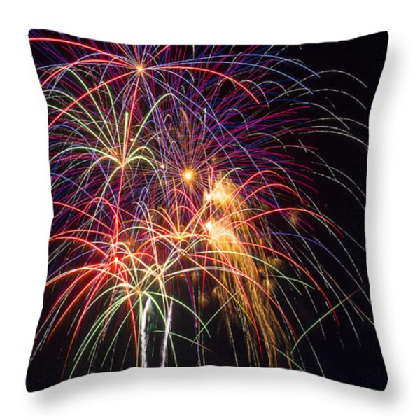 Awesome fireworks Throw Pillow by Garry Gay